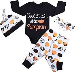 Halloween Pumpkin Print Newborn Baby Boy Girl Clothes Long Sleeve Romper Pants with Hat and Headband Outfits Set 4PC