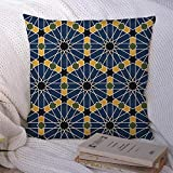 Decorative Throw Pillow Case Tiles Pattern Editable File Vintage Textures Style Decor Classic Dome Moroccan Antique Arab Yellow Polyester Square Cushion Cover for Couch Home Sofa Decoration 18x18 Inch