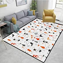 Cat entryway Rug Colorful Cats in Different Poses Pussycat Domestic Friends Companions Modern Illustration Furniture Sliders for Carpet Multi Area 7'6x7'6
