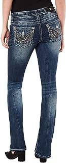 Women's Wing Embellished Faux Flap Pocket Midrise Bootcut Denim Jeans