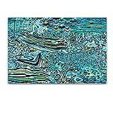 Cuadro sobre Vidrio - Modelo Abstracto Turquesa - Moderno Cuadro de Cristal Acrílico60 x 90 cm