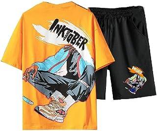 MogogNMen Floral Print Summer Sports 2 Piece Set Basic Cotton Tracksuit Outfit