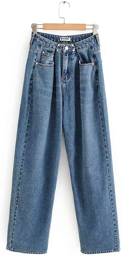 Fashion Washed Double Buckle Wide-Leg Casual Pants European and American Ladies