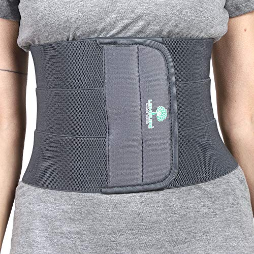 Longlife Abdominal Belt after delivery Tummy Reduction Trimmer Belly Slimming Binder for Women post pregnancy care (Grey Color, Large 34-38 Inch waist size)