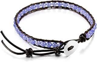MOWOM Alloy Genuine Leather Bracelet Bangle Cuff Rope for Women Boys Kids Gemstone Beads Braided 1 Wraps & 2 Wraps Stone A...