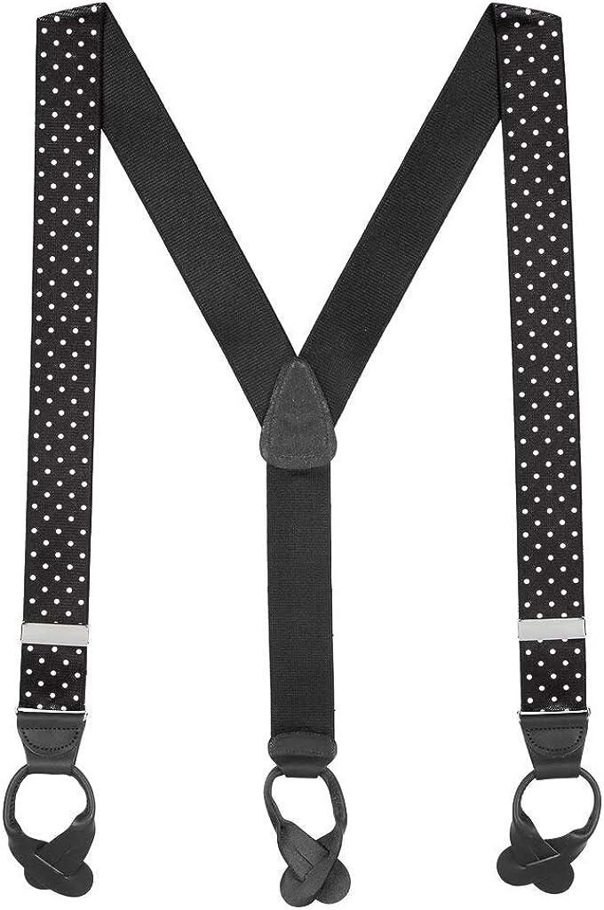 SuspenderStore Men's 1.5-Inch Wide BUTTON Suspenders: Stripes, Dots, Checks
