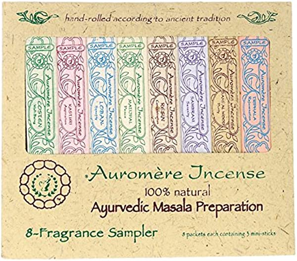 AUROMERE Ayurvedic Sample Pack 8 Fragrances 8 X 1 Oz