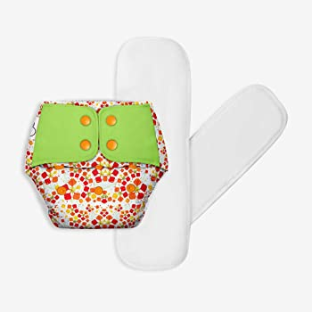SuperBottoms Freesize UNO - Washable & Reusable Cloth Diaper + 2 Organic Cotton Dry Feel Regular Pads Set [Day & Night Use] (for Babies 5 KG- 17 KG) - Gulmohar