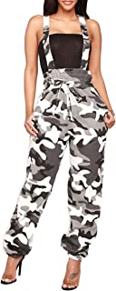 Women Sleeveless Camo Print Tie Waist Slim Loose Long Pants Jumpsuits Rompers Overall