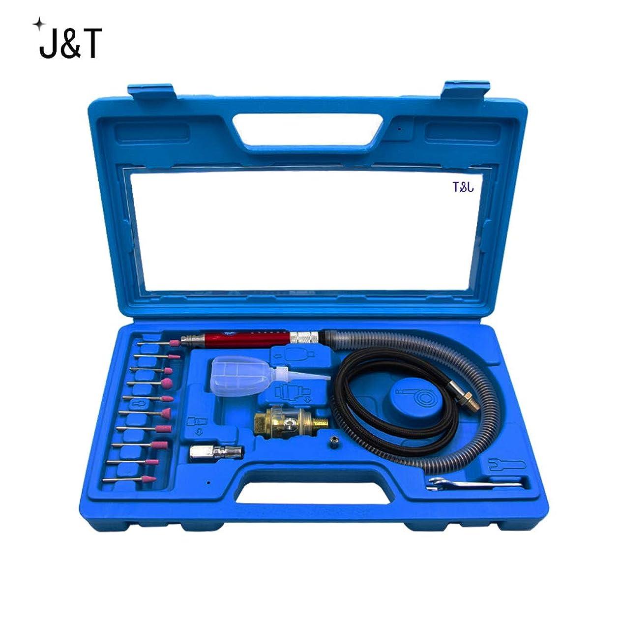 膜浅い倍率J&T エアーリューター エアーグラインダー セット ツールパワー 砥石10種類付き 研磨 研削 JT-29-013