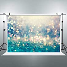 Riyidecor Polyester Fabric Blue Abstract Bokeh Shiny Backdrop Polka Dots Sparkle Mermaid Photography Backgrounds 7x5 Feet Party Wedding Celebration Baby Shower Banner Studio Photo Shoot (No Glitter)