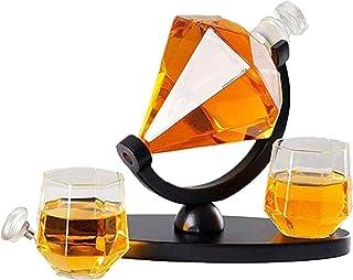Versammlung Familie Whiskey Karaffe Diamant Whiskey Karaffe einstellen Alkohol Karaffe mit 2 Glas Tassen Kunst Wein Flasche Halter Karaffe Wein einstellen zum Weiß Wein, Bourbon und Wodka