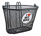 BIRIA Basket with Hooks, Front, Removable, Children Wire mesh Small Kids Bicycle Basket, I Love My Bike, New, Black