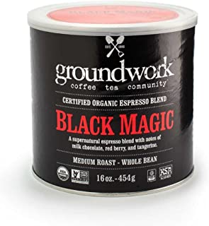 Groundwork Organic Whole Bean Medium Roast Coffee, Black Magic Espresso, 16 Ounce Can