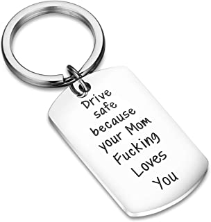 CJ&M Sweet 16 Keychain for Daughter, New Driver Keychain, Keychain to Son from Mother, Drive Safe Keychain, New Driver Gift, Fun Mom Gift