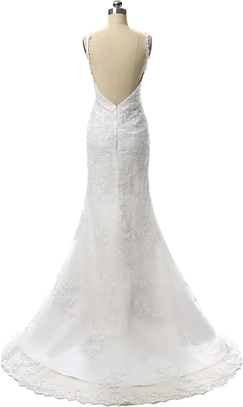 Wedding Dress Lace Mermaid Bridal Gown V Neck Bride Dresses Spaghetti Straps Wedding Gowns Backless