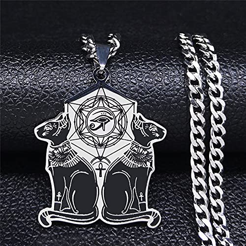YUANBOO Amuleto Egipto Cat Collar De Acero Inoxidable Antiguo Egipcio Wiccan Egyptian Sphinx Cat Jewelry (Metal Color : 50cm CS SR)