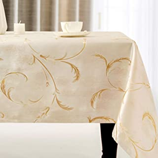 Villa Feel Leaf Embroidered Table Cloth Classic Luxurious Decorative Tablecloth Spill-Proof and Water Resistance Table Cover for Kitchen Dining (Rectangle/Oblong, 54 x 54 Inch,Ivory Golden)