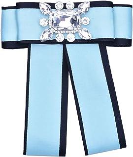 CBCJU Broche de Lazo Simple Diamante de Alto Grado Broche de Grosgrain Hembra Pajarita 15 * 13 cm