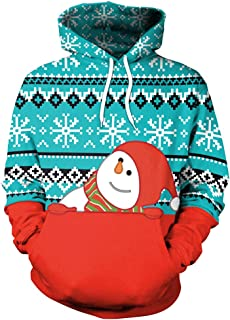 Fashspo Unisex Realistic 3D Print Casual Christmas Pullover Hooded Hoodies Sweatshirt with Pocket