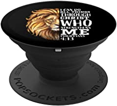 Christian Bible Verse Sayings Religious Gifts Him Lion Judah PopSockets Grip and Stand for Phones and Tablets