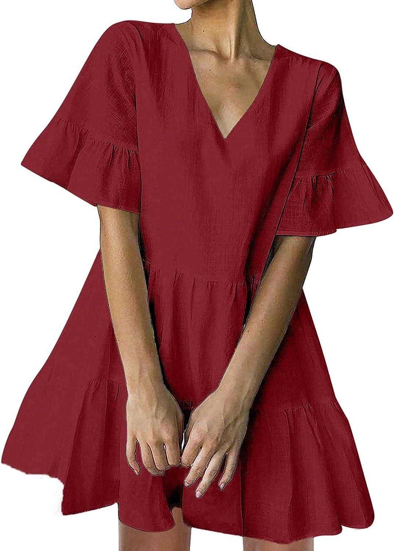 AIHOU Women Bell Sleeve Ruffle Hem V Neck Loose Swing Tunic Mini Dress Party Casual Summer Sundress Loose Cute Shift Dress