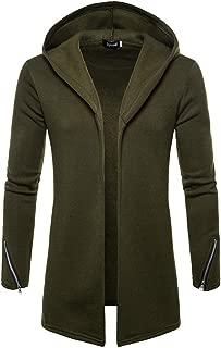 TOPUNDER Men Hooded Solid Zipper Trench Coat Jacket Cardigan Long Sleeve Outwear Blouse