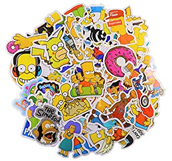 Cartoon Sticker Pack  66Pcs  The Simpson Waterproof Vinyl Stickers for Water Bottles,Laptop,Kids,Cars,Motorcycle,Bicycle,Skateboard Luggage,Bumper Stickers Hippie Decals Bomb