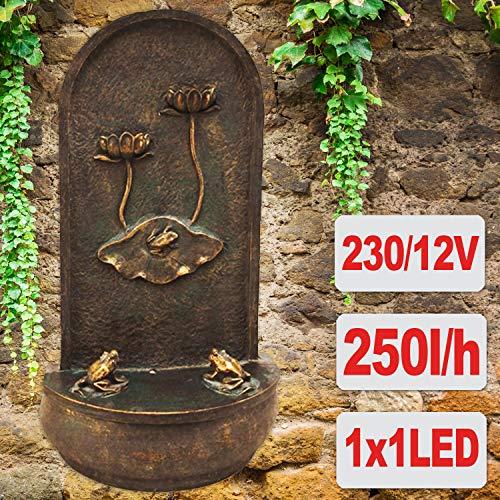 AMUR Gartenbrunnen Wandbrunnen Brunnen Vogelbad Wasserfall Wasserspiel für Garten Terrasse Wandbrunnen, Balkon, Sehr Dekorativ, Gartendeko mit Pumpe, Gartenleuchte