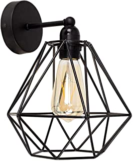 DIY Vintage Wire Cage Wall Sconce - YIKEGE Minimalist Industrial Metal Lamp Guard Holders Wall Lighting Fixture with Black Diamond Shade for Kitchen Dining Room Barn Loft, use E26 Bulb