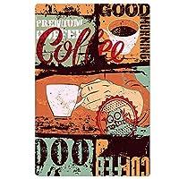 コーヒーのテーマ、ブリキのサインヴィンテージ面白い生き物鉄の絵の金属板ノベルティ