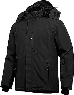 Wespornow Men's-Ski-Jacket Winter-Waterproof-Windproof-Mountain-Ski-Snow-Coat Warm Fleece Rain Jackets for Snowboarding