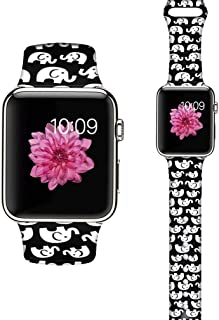 LAACO Floral Bands Compatible with iWatch 38mm 40mm 42mm 44mm, Soft Silicone Fadeless Pattern Printed Replacement Strap Bands, Compatible with iWatch Series 5/4/3/2/1, M/L - White Elephant