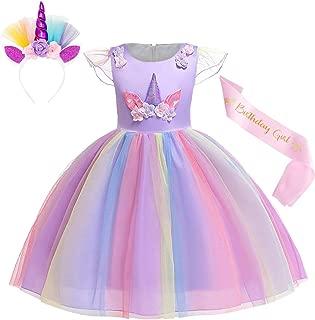 Cotrio Unicorn Costume Dress Pageant Party Dresses Flower Evening Gowns Halloween Tutu Dress