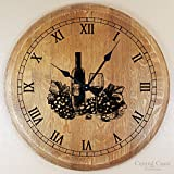 Central Coast Creations Wine Barrel Head Wine Glass Engraved Large Wall Clock - Wine Barrel Handcrafted Wine Barrel Furniture