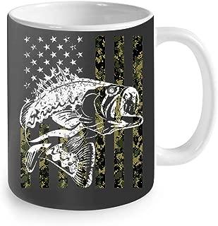 Fishing Camouflage USA Flag for Bass Fisherman Gifts Coffee Mug 11oz