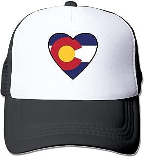 TOMTM Friedsam Adult Unisex Colorado Flag Heart Black Mesh Hat Adjustable