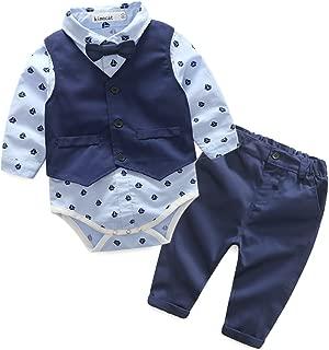 Baby Boys Bodysuit Gentleman Bowtie Suits Set Long Sleeve +Vest+Pants