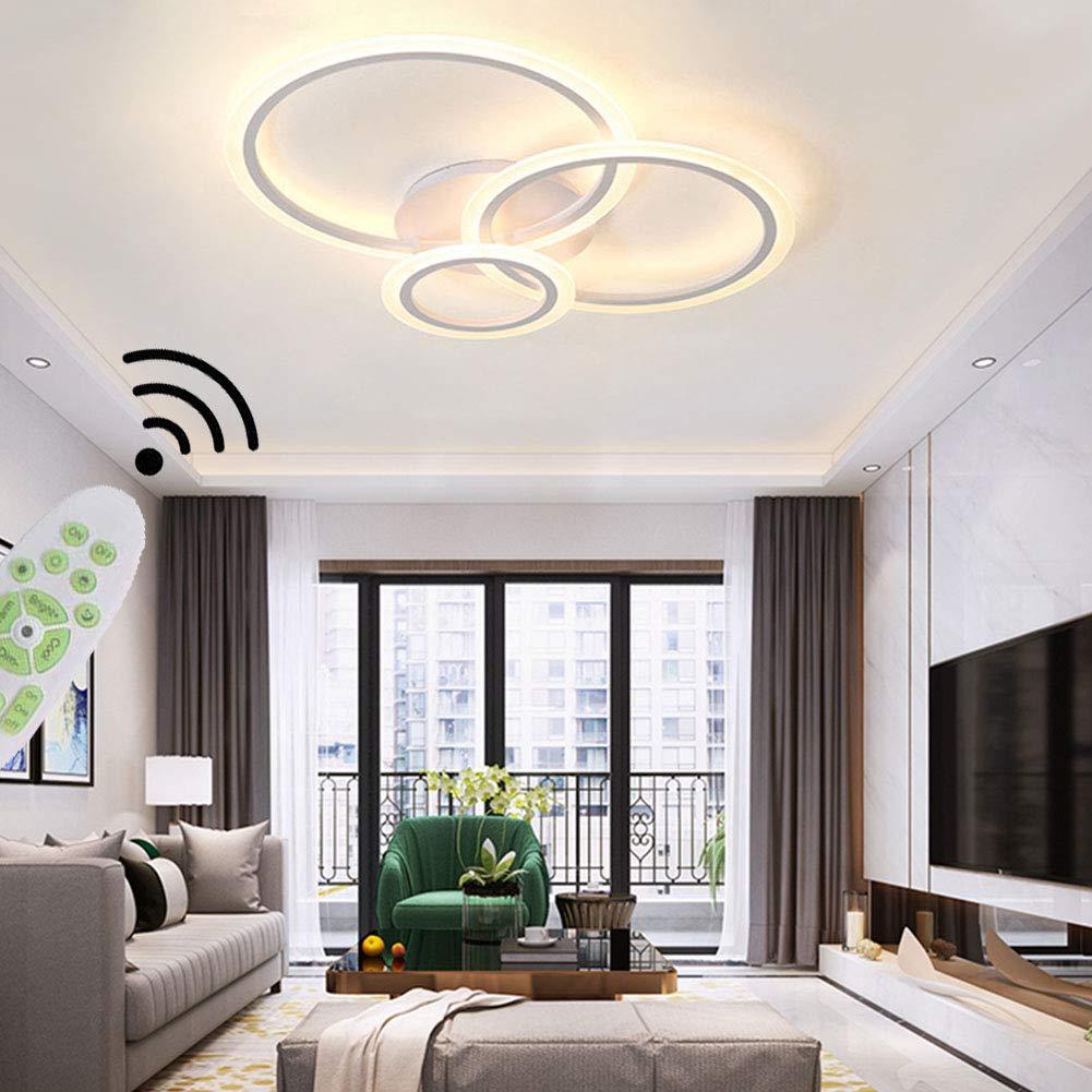 Modern Chic Wohnzimmerlampe LED Deckenleuchte 3 Ring Dimmbar 3K-3K  mit Fernbedienung Lichtfarbe/Helligkeit Deckenlampe Metall Acryl  Schlafzimmer