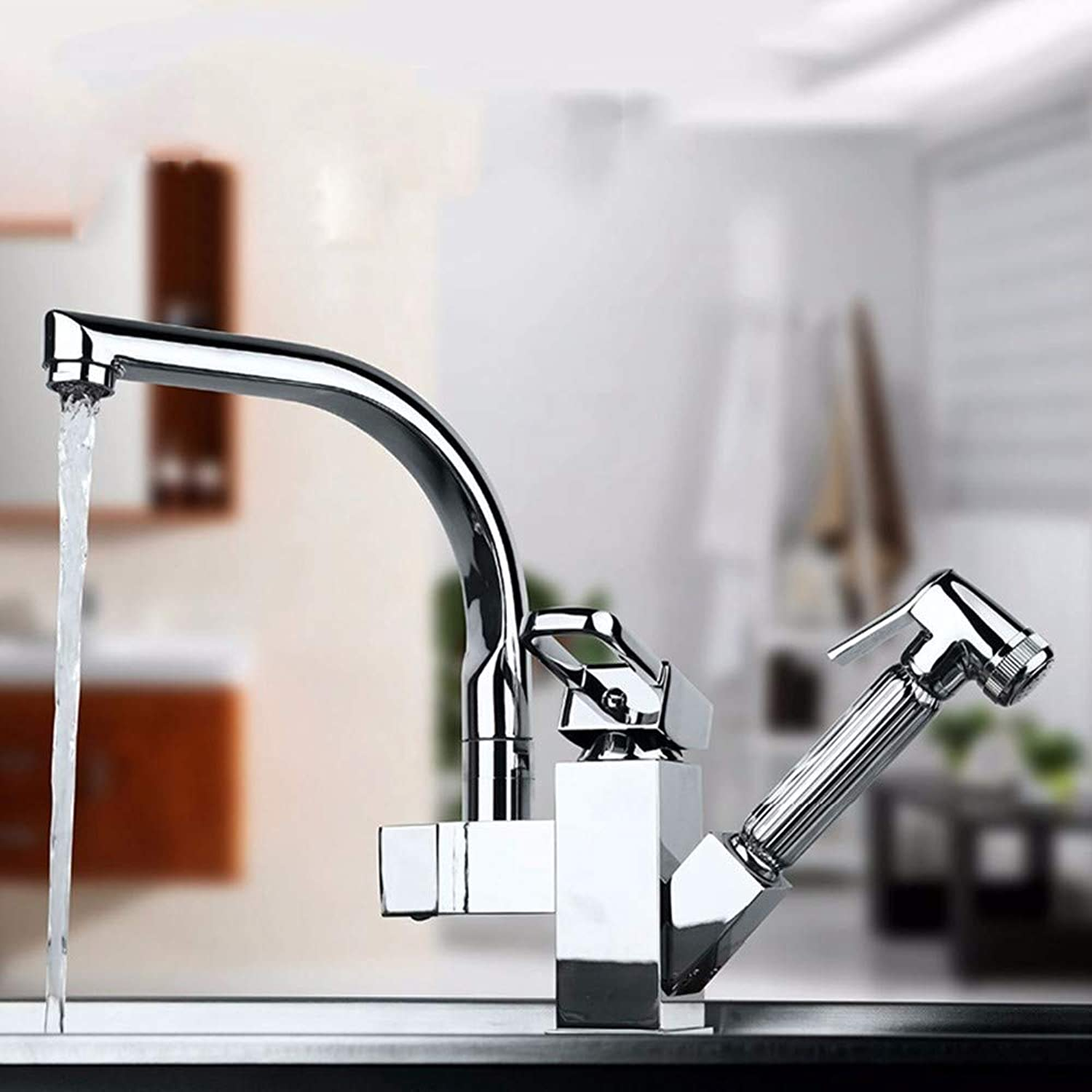 KUNHAN Kitchen Sink Faucet Tap Brass Double Port 360 Degrees And Pull Out The Kitchen Faucet.Kitchen Faucet Sink Mixer
