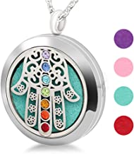 LiFashion LF 316L Stainless Steel 7 Chakras Energy Stone Essential Oil Diffuser Necklace Fatima Hamsa Hand Aromatherapy Fragrance Locket Pendant for Women Girls,Free Pads