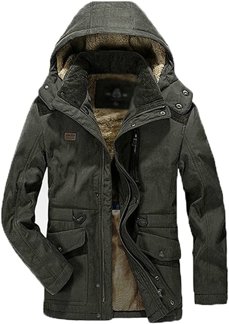 Parka Men's Winter Jacket Fleece Thick Warm Men's Jacket