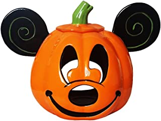 Disney Parks Mickey Mouse Halloween Jack O' Lantern Pumpkin Votive Ceramic Candle Holder