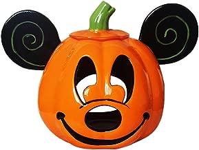 Disney Parks Mickey Mouse Halloween Jack O' Lantern Pumpkin Votive Ceramic Candle Holder