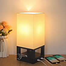 Bedside Touch Lamp with Dual USB Ports, Boncoo Dimmable Touch Control Nightstand Lamp Square Fabric Shade and Wooden Base ...