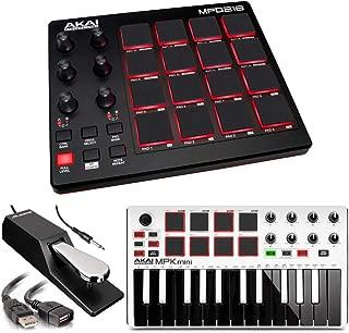 Akai Professional MPD218 | MIDI Drum Pad Controller with Akai MPK Mini MKII | 25-Key Portable USB MIDI Keyboard (White) + Pedal & USB Cable - Top Value Bundle