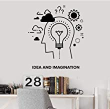 MRQXDP Idea and Imagination Wall Decal Decor Nursery Kids Room Words Gears Lamp Vinyl Wall Stickers for Office Waterproof ...