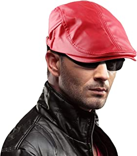 Men's Classic Newsboy Cap,PU Leather Gatsby Ivy Flat Golf Driving Hat