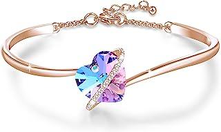 GEORGE · SMITH ❤️Histoire d'amour❤️ Bracelet Coeur Bracelet Plaqué Argent Femme avec Cristal Bleu Rose, Cadeau Anniversair...