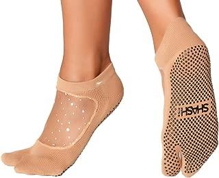 Shashi Glitter Mesh Non Slip Split Toe Ergonomic Sock Pilates Barre Ballet Yoga